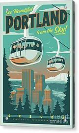 Portland Tram Retro Travel Poster Acrylic Print