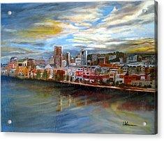 Portland Waterfront From Broadway Bridge Acrylic Print