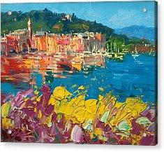 Portofino Harbor With Flowers Acrylic Print by Agostino Veroni