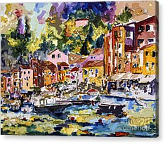 Acrylic Print featuring the painting Portofino Italy Bella Italia by Ginette Callaway