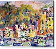 Portofino Italy Acrylic Print by Ginette Callaway