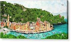 Portofino, Italy Prints From Original Oil Painting Acrylic Print