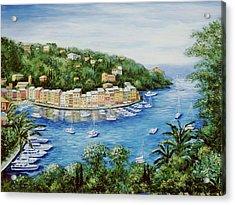 Portofino Majestic Panoramic View Acrylic Print by Marilyn Dunlap