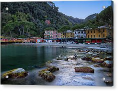 Acrylic Print featuring the photograph Portofino Mills Valley With Paraggi Bay And Beach by Enrico Pelos