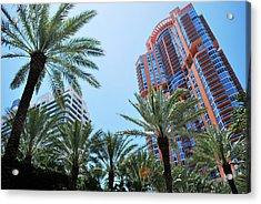 Portofino Towers South Beach Miami Acrylic Print by Amanda Vouglas