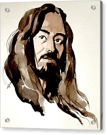 Watercolor Portrait Of A Man With Long Hair Acrylic Print by Greta Corens