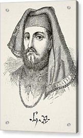 Portrait And Autograph Of King Henry Iv Acrylic Print by Vintage Design Pics