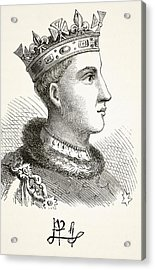 Portrait And Autograph Of King Henry V Acrylic Print by Vintage Design Pics
