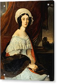 Portrait D'eugenie Gabrielle Barbou Des Courieres. Baronne Rivet Acrylic Print by Alexandre-Marie Colin