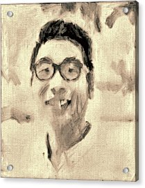Portrait In Brown Sepia On Canvas In Oil Just The Underpainting Acrylic Print by MendyZ