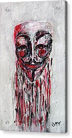 Portrait Melting Of Anonymous Mask Chan Wikileak Occupy Guy Fawkes Sopa Mpaa Pirate Lulz Reddit Acrylic Print