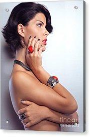Portrait Of A Beautiful Woman Wearing Jewellery Acrylic Print by Oleksiy Maksymenko