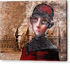 Portrait Of A Boy With A Castle In The Background. Acrylic Print by Ilir Pojani