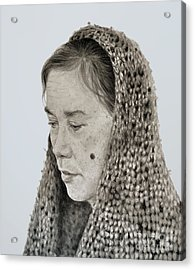 Portrait Of A Filipina Woman With A Mole On Her Cheek And Wearing A Scarf Acrylic Print by Jim Fitzpatrick