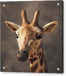 Acrylic Print featuring the digital art Portrait Of A Giraffe  by Daniel Eskridge