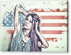 Portrait Of A Girl On The Background Of A Stylized Usa Map Acrylic Print