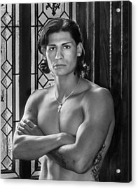 Portrait Of A Male Model Acrylic Print by James Woody