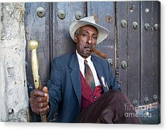 Portrait Of A Man Wearing A 1930s-style Suit And Smoking A Cigar In Havana Acrylic Print by Sami Sarkis