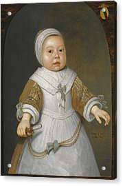 Portrait Of A One-year-old Girl Of The Van Der Burch Family Three-quarter Length Acrylic Print