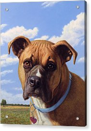 Acrylic Print featuring the painting Portrait Of A Sweet Boxer by James W Johnson