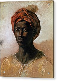 Portrait Of A Turk In A Turban Acrylic Print by Ferdinand Victor Eugene Delacroix
