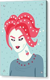 Portrait Of A Weird Girl With Pink Hair Acrylic Print