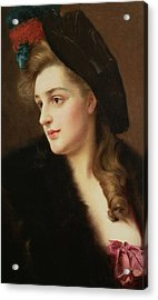 Portrait Of A Woman In A Hat Acrylic Print by Gustave Jacquet