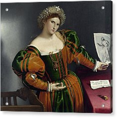 Portrait Of A Woman Inspired By Lucretia Acrylic Print by Lorenzo Lotto