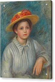 Portrait Of A Woman With A Hat With Flowers Acrylic Print by Pierre Auguste Renoir
