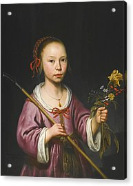 Portrait Of A Young Girl As A Shepherdess Holding A Sprig Of Flowers Acrylic Print