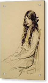 Portrait Of A Young Girl Acrylic Print by Frederick Pegram
