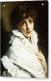 Portrait Of A Young Girl In White Acrylic Print