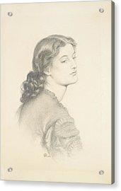 Portrait Of Ada Vernon Acrylic Print by Dante Gabriel Rossetti