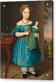 Portrait Of Amy Philpot In A Blue Dress With Doll And Goldfish Acrylic Print