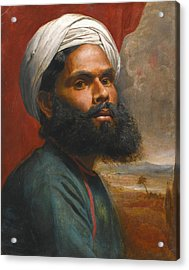 Portrait Of An Indian Sardar Acrylic Print by Edwin Frederick Holt