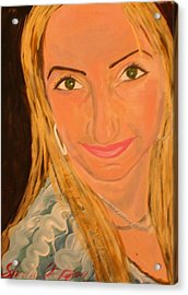 Portrait Of Artists Agnes  Acrylic Print by Shellie Gustafson