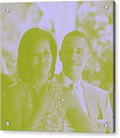 Portrait Of Barack And Michelle Obama Acrylic Print by Asar Studios