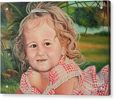 Acrylic Print featuring the painting Portrait Of Child by Sorin Apostolescu