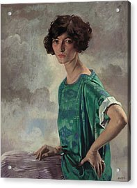 Portrait Of Gertrude Sanford Acrylic Print by William Orpen