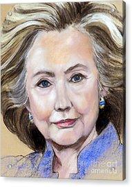 Pastel Portrait Of Hillary Clinton Acrylic Print by Greta Corens