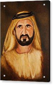 Portrait Of His Highness Sheikh Mohammed Bin Rashid Al Maktoum - Ruler Of Dubai Acrylic Print by Remy Francis