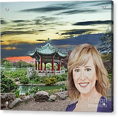 Portrait Of Jamie Colby By The Pagoda In Golden Gate Park Acrylic Print by Jim Fitzpatrick