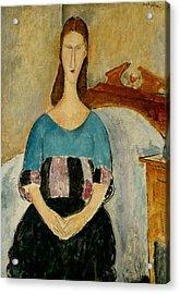 Portrait Of Jeanne Hebuterne Acrylic Print by Amedeo Modigliani