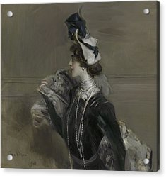 Portrait Of Mademoiselle Lina Cavalieri Acrylic Print by Giovanni Boldini