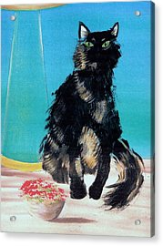 Acrylic Print featuring the painting Portrait Of Muffin by Denise Fulmer