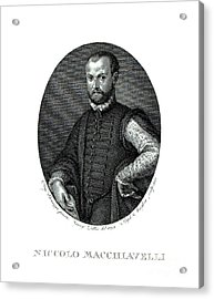 Portrait Of Niccolo Machiavelli  Acrylic Print by Agnolo Bronzino