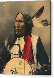 Portrait Of Oglala Sioux Chief Strikes With Nose Acrylic Print