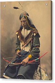 Portrait Of Oglala Sioux Council Chief Bone Necklace Acrylic Print