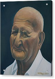 Portrait Of Old Man In St. Louis Acrylic Print by Stephen Degan