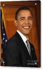 Portrait Of President Barack Obama Acrylic Print